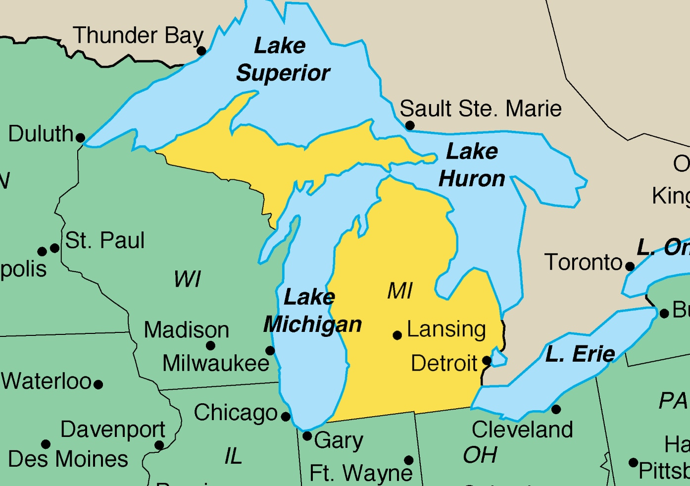 Lake Michigan Us Map Map of Michigan | U.S. Embassy in Austria